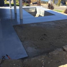 Pool deck in quartz (covering failed stamped concrete)